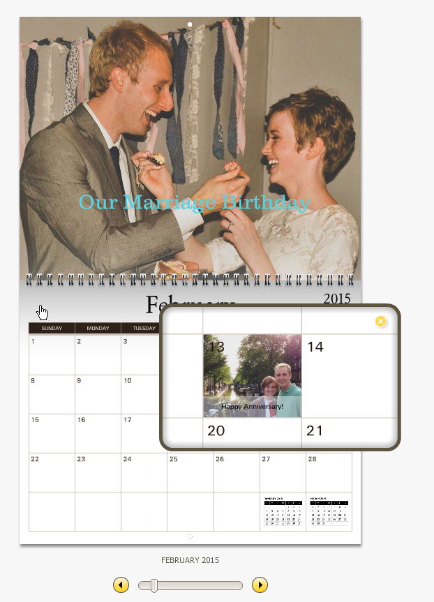 Preview window of my customized calendar on MyCanvas