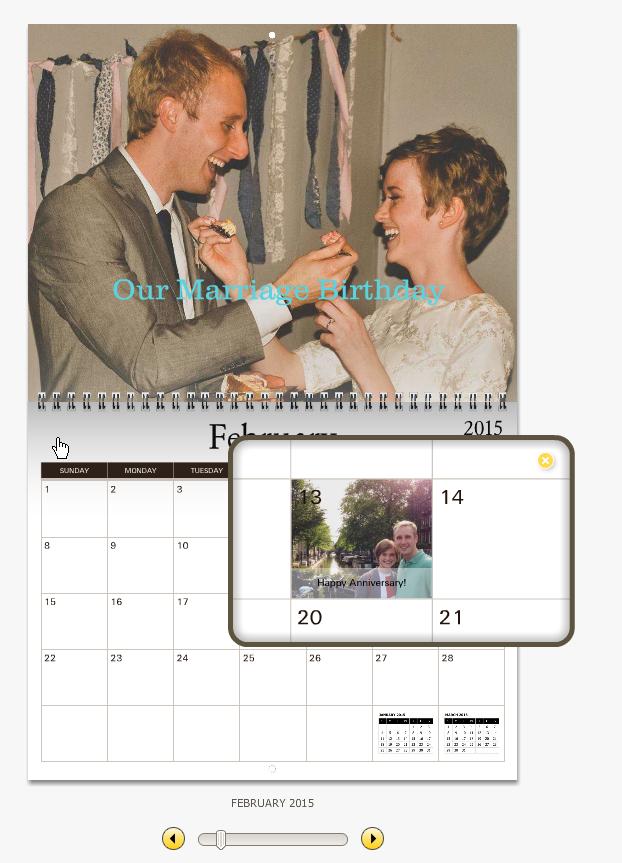 Preview window of my customized calendar on MyCanvas