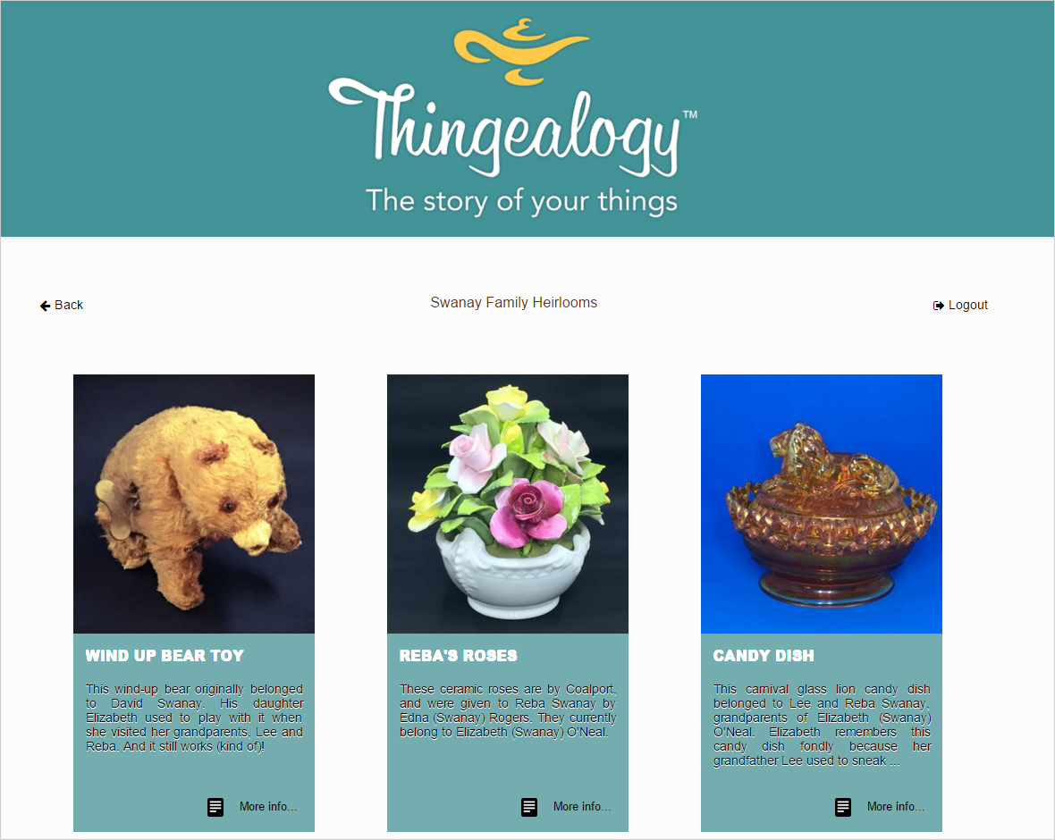 Sample of Thingealogy Website