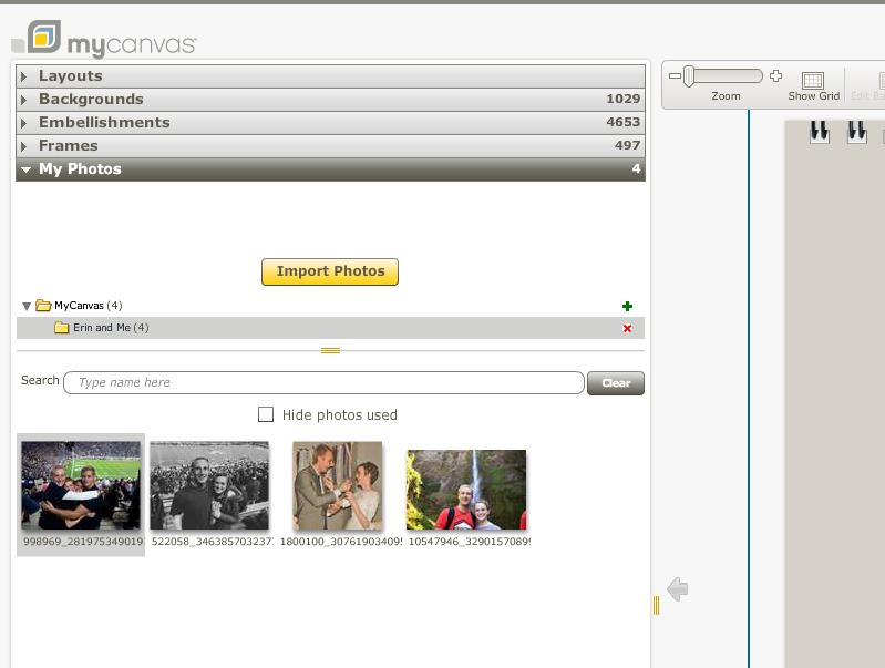 Upload photos into MyCanvas to make a calendar