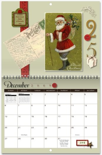 MyCanvas Postcard Heirloom Calendar December