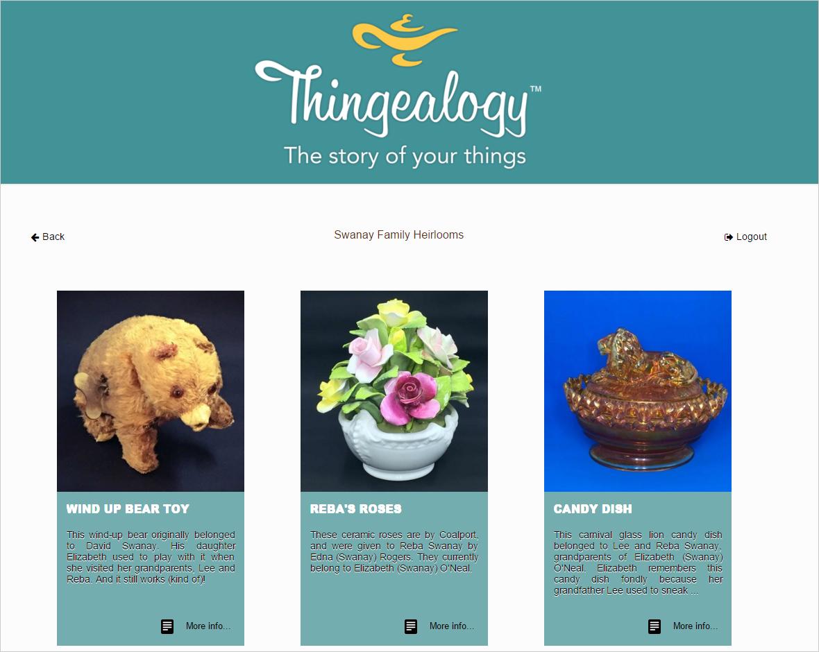 Sample of Thingealogy Website