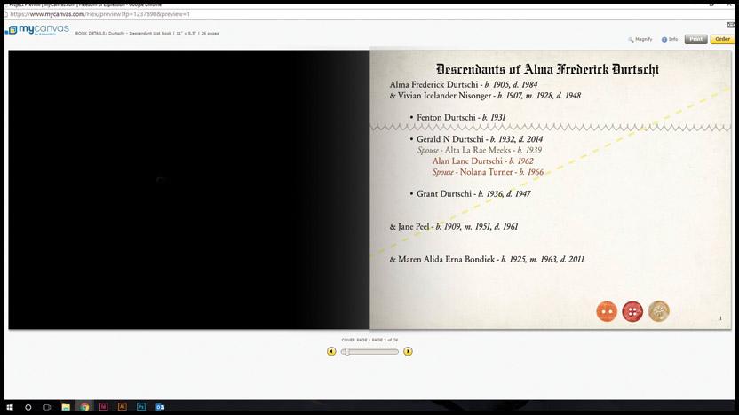 mycanvas-family-history-book-descendant-list-opening