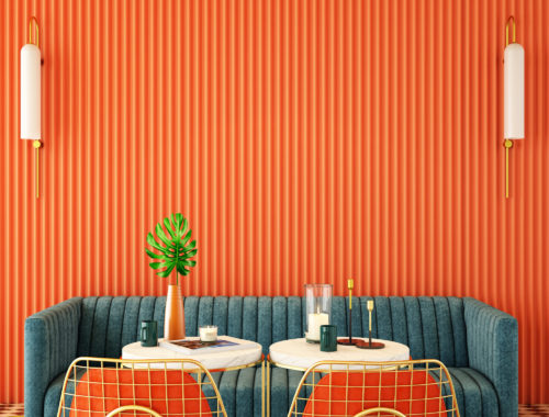 cafe in complementary colors